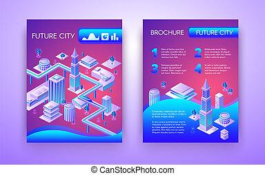 città, isometrico, vettore, sagoma, opuscolo, futuro