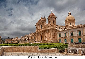 Città, italia, Sicilia,  noto, cattedrale, vecchio