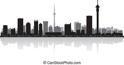 città, johannesburg, vettore, silhouette, orizzonte