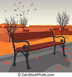 città, legno, panchina, autunno, vuoto