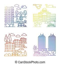 città, linea, bandiere, paesaggio, villaggio