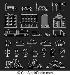 città, linea, paesaggio, icone