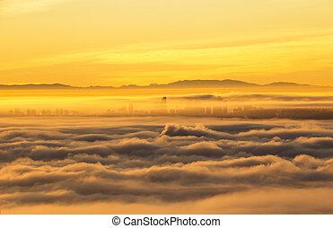 città, linea, splendore, cielo, mattina