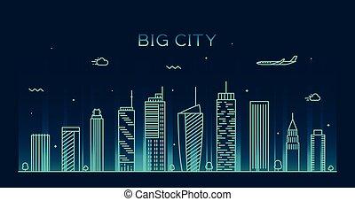 città, lineare, grande, illustrazione, orizzonte, vettore, trendy