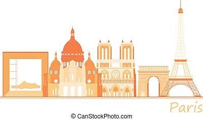 città, locali, panorama, parigi, famoso, mondo
