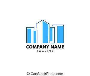 città, logotipo, disegno, sagoma