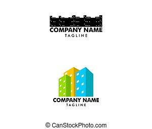 città, logotipo, progetto serie, sagoma