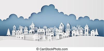città, luna, paesaggio, campagna, neve, villaggio, inverno, urbano, pieno