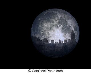 città, luna piena