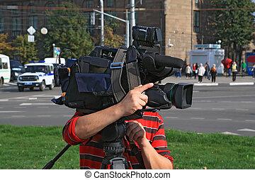 città, macchina fotografica, strada, operatore