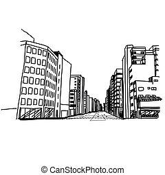 città, mano, disegnato