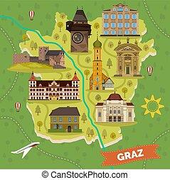 città, mappa, graz, limiti, sightseeing