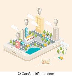 città, mappa, isometrico, navigazione, gps