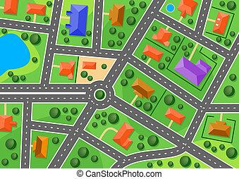 città, mappa, poco, o, sobborgo