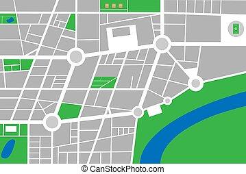 città, mappa urbana, astratto, vettore, piccolo