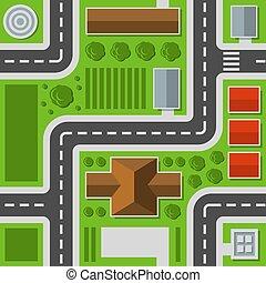 città, mappa urbana, cima, pattern., seamless, vettore, vista.