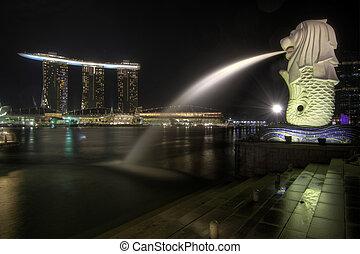 città, merlion, singapore, parco, orizzonte, 2
