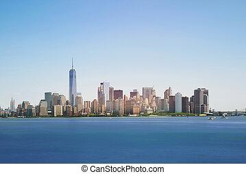 città, mezzogiorno, grattacieli, stati uniti, orizzonte, york, nuovo