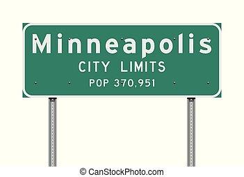 città, minneapolis, limiti, segno strada