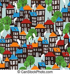 città, modello, cartone animato, seamless, natale