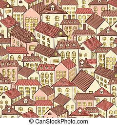 città, modello, case, seamless, cioccolato