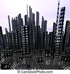 città, moderno, grattacieli, notte