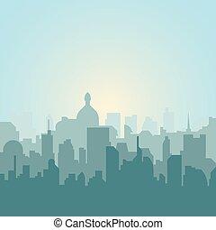 città, moderno, illustrazione, silhouette., orizzonte, vettore