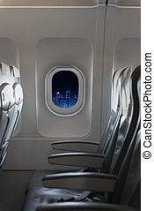 città, moderno, orizzonte, finestra, notte, aeroplano, vista