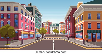 città, moderno, strada, zebra, vuoto