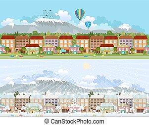 Città, montagna, paesaggio,  seamless, collezione, profili di fodera