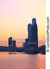 città, mosca, moderno, grattacieli, russia