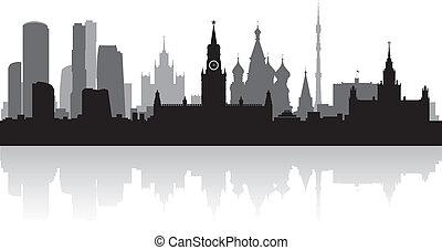 città, mosca, vettore, silhouette, orizzonte