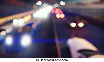 città, movement., luci, automobili, interpretazione, attraverso, defocused, fondo, andare, night., 3d