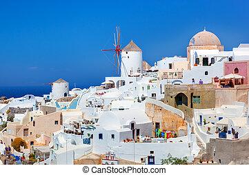 città, mulini vento, isola, oia, famoso, santorini, greece.