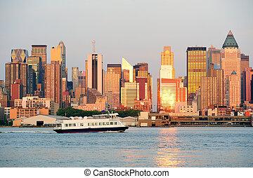 città new york, manhattan tramonto