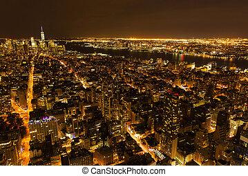 città new york, notte, vista