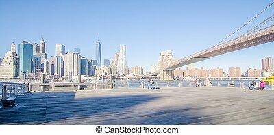 città new york, ponte manhattan, e, orizzonte