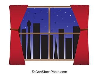 città, no, &, luci, stelle, notte, tenda
