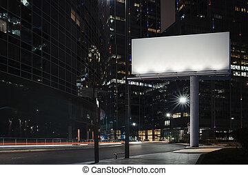 città, notte, fondo., vuoto, interpretazione, tempo, tabellone, 3d