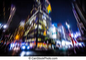 città, notte, luci, york, nuovo, illuminazione