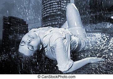 città, notte, pioggia, incendi, fondo, sotto, ragazza