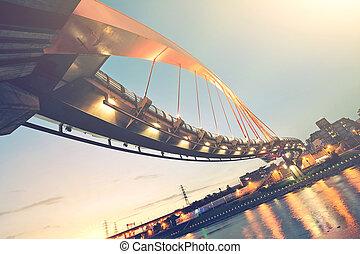 città, notte, scenario, con, bello, ponte