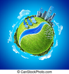 città, oceano, foresta, turbine vento