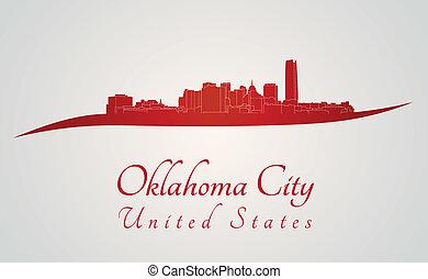 città, oklahoma, orizzonte, rosso