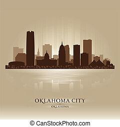 città, oklahoma, silhouette, orizzonte