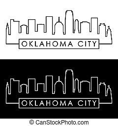 città, oklahoma, skyline.