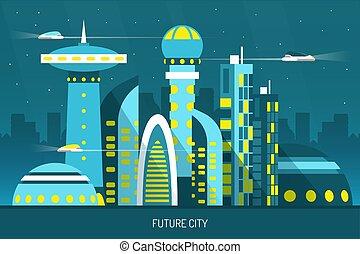 città, orizzontale, futuro, illustrazione