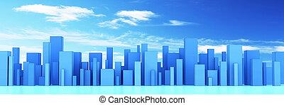 città, orizzonte, 3d