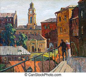 città, paesaggio, di, vitebsk, disegnato, con, olio, su,...