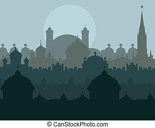 città, paesaggio, illustrazione